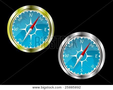 Two compasses in gold and silver with a blue insert with a map of the world isolated on a black background