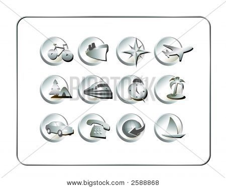 Travel Icon Set: Silver