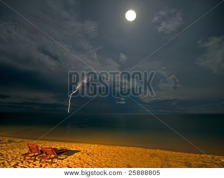 Night Beach with Moon and Thunder