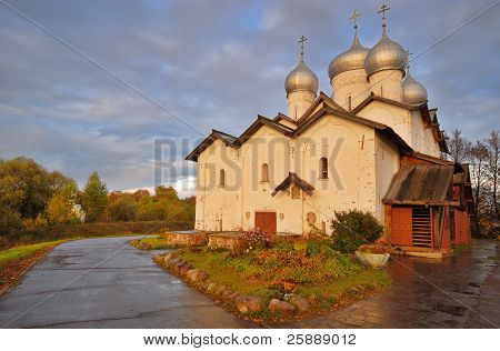 Russian Orthodox Boris-Gleb-Church Church at Sunset, Novgorod The Great, Russia
