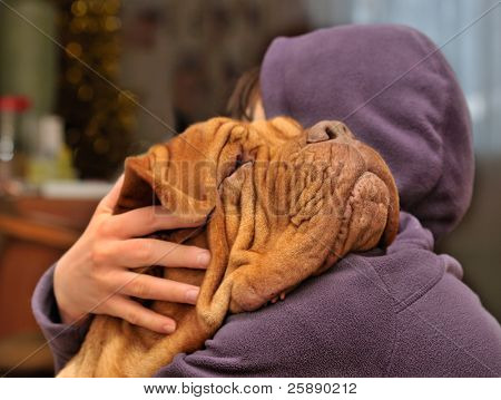 Girl loving and hugging tightly her dog of Dogue De Bordeaux breed