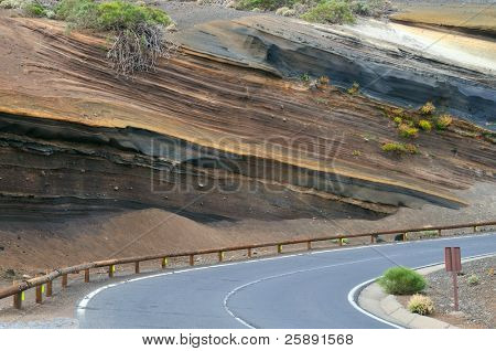 Muti-Layered Colorful Soil at Tenerife island, El Teide National Park, Spain