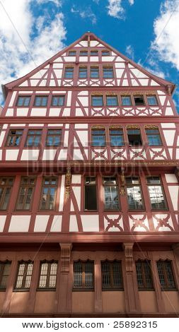 Traditional half timbered house at Romer Square (Römerplatz / Roemerplatz) in the city of Frankfurt Main, Germany