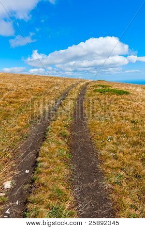 Path On Mountain Field In Nice Day