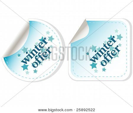 Special winter offer vector stickers