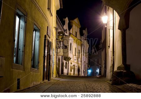 Pedestrian street at night, Cesky Krumlov, Czech Republic