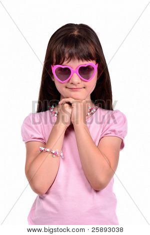 Young coquette girl wearing pink dress and glasses isolated on white background