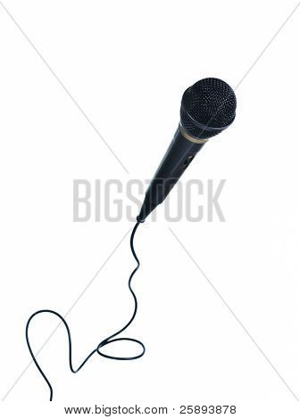 Classical microphone with wire isolated on white
