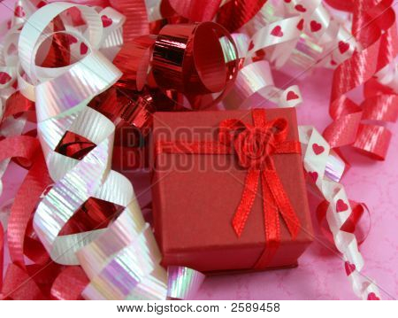 Red Gift Box With Curly Ribbons