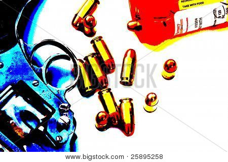 Pop Art of .45 cal bullets comming out of pill bottle a .45 cal hand gun
