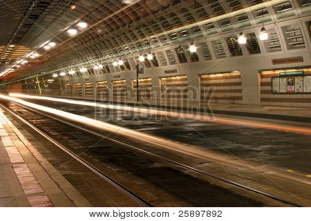 seattle subway with time laps