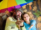 Romantic Couple Dating. Rainy Weather Not Obstacle For Them. Hipster With Beard And Cheerful Girl Ex poster