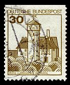 GERMANY-CIRCA 1977:A stamp printed in Germany shows image of Burg Ludwigstein is a 15th-century cast