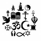 Religion Icons Set. Simple Illustration Of 16 Religion Icons For Web poster