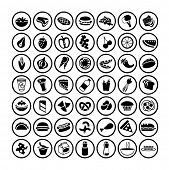 many vector food icons set 3