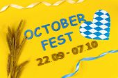 October Fest Concept. Wheat Hop, Heart Love In Blue White And Blue Wooden Text october Fest 22.09 - poster