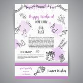 Birthday Party Doodle Posters. Vector Template Banners For Cards, Invitation, Flyer, Party, Wedding, poster
