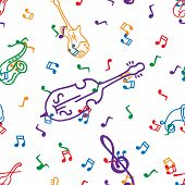 Musical Notes And Musical Instruments Seamless Pattern. Vector Illustration Of Musical Instruments S poster