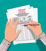 Hands With Pen Fill Survey Or Exam Forms. Answered Quiz Papers, Pile Of Sheets With Education Test.  poster