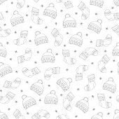 Hand-drawn Winter Hats And Socks. Hats, Socks And Snowflakes Are Black On White Background. Vector I poster