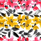 Watercolor And Ink Illustration Of Blossom Sakura Flowers With Leaves, White Background, Sumi-e And  poster