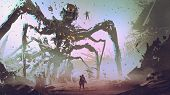 The Man Facing The Giant Spider Robot, Digital Art Style, Illustration Painting poster