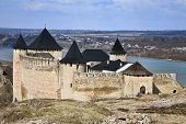 stock photo of hetman  - Historical Khotyn fortress and castle on the bank of Dnister river in Ukraine - JPG