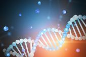 Blue White Diagonal Dna Helix With Parts Of It Scattered Around Over Blue Blurred Background. Biotec poster