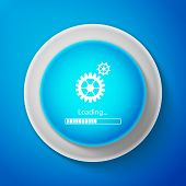 White Loading And Gear Icon Isolated On Blue Background. Progress Bar Icon. System Software Update.  poster