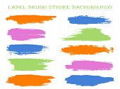 Modern Label Brush Stroke Backgrounds, Paint Or Ink Smudges Vector For Tags And Stamps Design. Paint poster