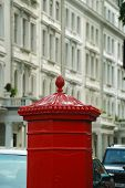 pic of knightsbridge  - Traditional English mailbox and row houses in London - JPG
