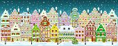 City Street In Winter. Christmas Eve. The Winter Vacation. The Houses Are Covered With Snow. Snow On poster