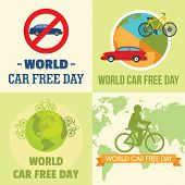 World Car Free Day Walking Environment Banner Concept Set. Flat Illustration Of 4 World Car Free Day poster