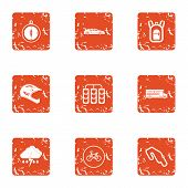 Automobile Race Icons Set. Grunge Set Of 9 Automobile Race Icons For Web Isolated On White Backgroun poster