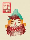 Typographic Grunge Vintage Christmas Card Design With Cartoon Laughing Bearded Man. Retro Vector Ill poster