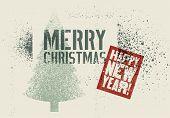 Typographic Vintage Grunge Stencil Splash Style Christmas Greeting Card Design. Retro Vector Illustr poster