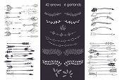 Set With Arrows, Hand Drawn Ethnic Collection With Arrows, Garlands, Laurel For Design, Rustic Decor poster