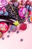 Selection Of Purple Foods - Fruits, Berries And Vegetables On Pink Background. Purple Or Eat By Colo poster