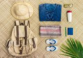 Overhead View Of Travel And Live In The Countryside Of Thailand Items With Uniform Of Native Thailan poster