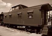 pic of caboose  - Black and white photo of old train caboose - JPG
