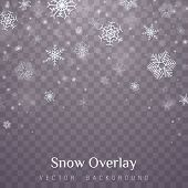 Falling Christmas Snow. Snowflakes Isolated On Transparent Background. Vector Heavy Snowfall, Snowfl poster