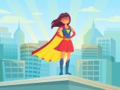Super Woman Watching City. Wonder Hero Girl In Suit With Cloak At Town Roof. Comic Female Superhero  poster