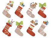 Christmas Socks. Xmas Stocking Or Sock With Snowflakes, Snowman And Santa. Deer And Santas Helpers E poster