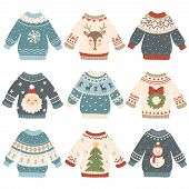 Ugly Christmas Sweaters. Cartoon Cute Wool Jumper. Knitted Winter Holidays Sweater With Funny Snowma poster