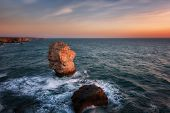 Seascape During Sunrise. Beautiful Natural Seascape. Sea Sunrise At The Village Of Tyulenovo. Magnif poster
