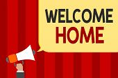 Handwriting Text Welcome Home. Concept Meaning Expression Greetings New Owners Domicile Doormat Entr poster