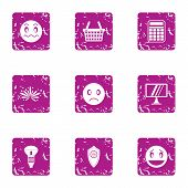 Poor Lighting Icons Set. Grunge Set Of 9 Poor Lighting Vector Icons For Web Isolated On White Backgr poster