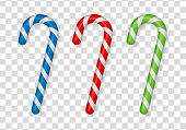 Christmas Cane, Christmas Candy, Christmas Stick, Red Candy. Candy Cane Isolated On White. poster