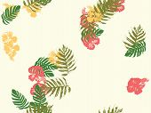 Tropical Background. Green, Pink, Red, Yellow Monstera, Hibiscus, Palm Vector Elements. Hawaiian Exo poster