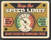 Car Speedometer Vintage Banner, Speed Limit Safety Promotion. Drive Safe And Keep Speed Limit Retro  poster